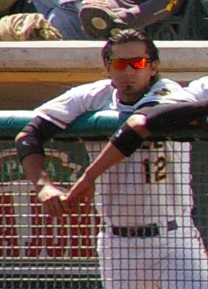 Freddy Sandoval - Sandoval with the Salt Lake Bees, Triple-A affiliates of the Los Angeles Angels of Anaheim, on April 12, 2009.