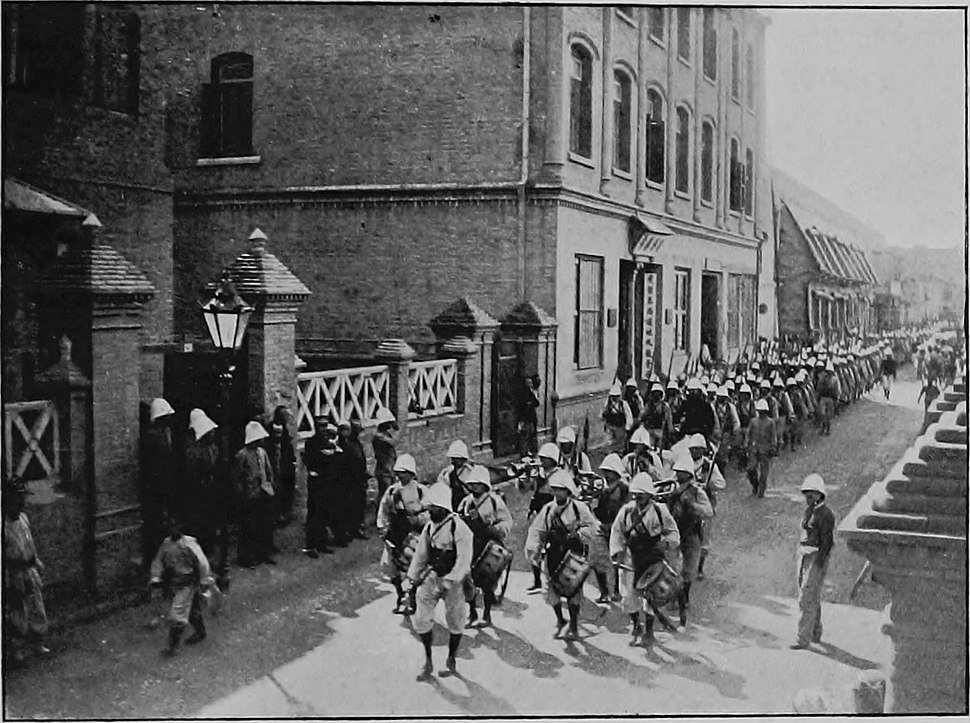 French Colonial Infantry Marching through the French Concession, Tientsin