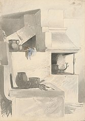 Sketch of Fireplace with Kitchen Utensils