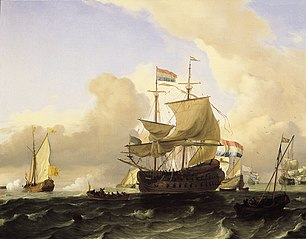 Frigate and Other Vessels on a Rough Sea