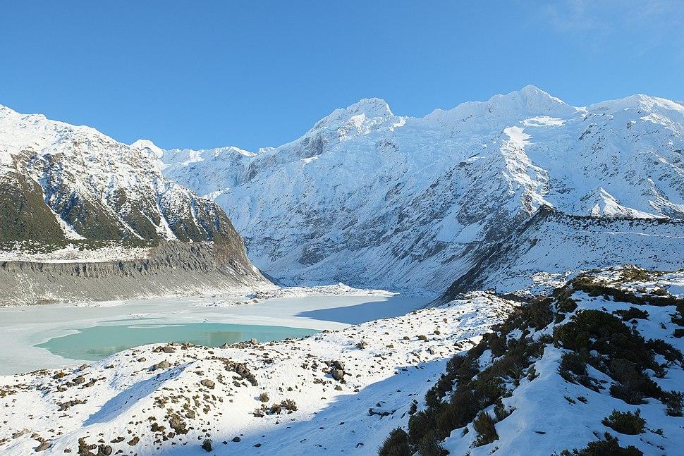 Frozen Mueller Glacier Lake and Mueller Glacier in front of Mt Sefton