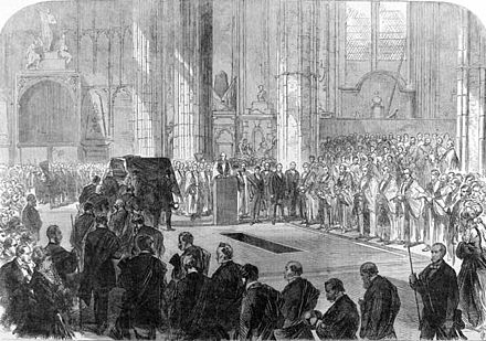 Peabody's funeral in Westminster Abbey Funeral of George Peabody at Westminster Abbey, 1869 ILN.jpg