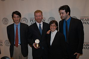 9/11 (2002 film) - Gédéon Naudet, James Hanlon, Susan Zirinsky and Jules Naudet posing with the Peabody Award for their film 9/11, May 2003