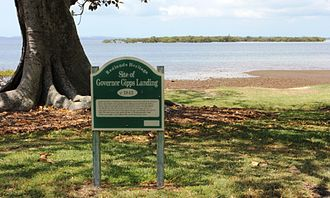 Cleveland, Queensland - Sign in G.J. Walter Park Marking Where Governor Sir George Gipps Landed, 1842