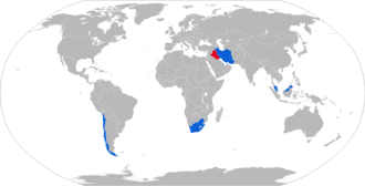 G5 howitzer - Map with Denel G5 howitzer operators in blue and former operators in red