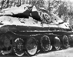 Operation Greif - Knocked-out Panther tank disguised as an M10 Tank Destroyer