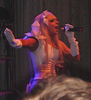 Lady GaGa performing at New York City for radi...