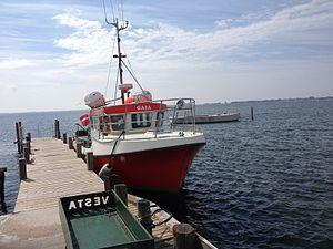 """Nakskov Fjord - The post boat """"Gaia"""" in the Nakskov fjord."""