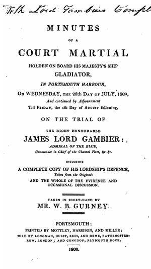 Court-martial of James, Lord Gambier - Coverpage of the minutes of Lord Gambier's court-martial, 1809.