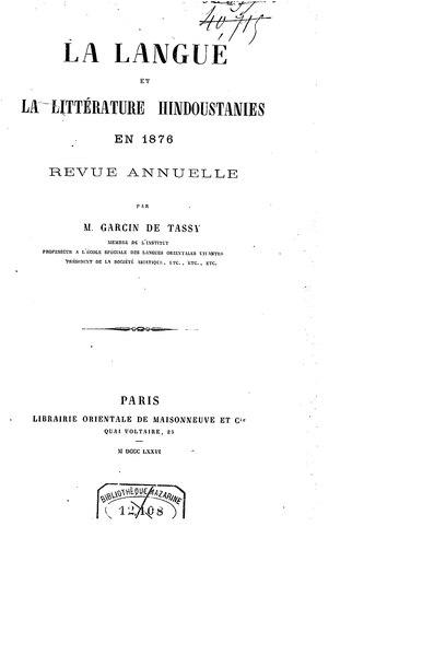 File:Garcin de Tassy - La Langue et la littérature hindoustanies en 1876.djvu