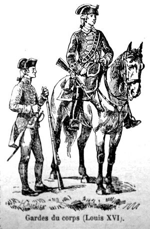 Garde du Corps (France) - Two Guardsmen during the reign of Louis XVI in full uniform. Coats were dark blue with red facings and silver lace. Waistcoats and breeches were red.