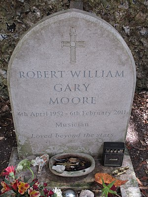 Gary Moore - Gary Moore's gravestone in the churchyard of St Margaret's Church, Rottingdean