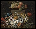 Gaspar Peeter Verbruggen (II) - A swag of flowers in a niche, with grapes, plums and peaches on a plinth.jpg