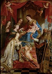 Virgin with child and saints Maria Magdalen, Cecilia, Dorothea, Catharina and Augustine