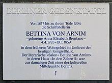 Berliner Gedenktafel am Bettina-von-Arnim-Ufer in Berlin-Tiergarten (Quelle: Wikimedia)