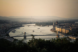 Gellért Hill - Skyline of Budapest from Gellért Hill. Danube River which separates Buda and Pest