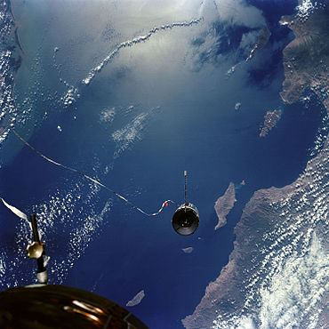 Docking target tethered to Gemini 11, 1966. Below is the Gulf of California at La Paz, Mexico