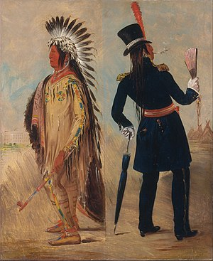 Transformation of culture - Wi-jún-jon before and after his trip to Washington, DC, by George Catlin