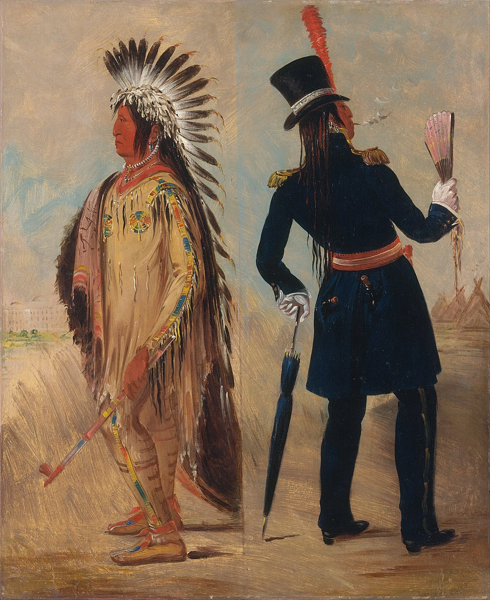 George Catlin - Wi-jún-jon, Pigeon's Egg Head (The Light) Going To and Returning From Washington - Google Art Project