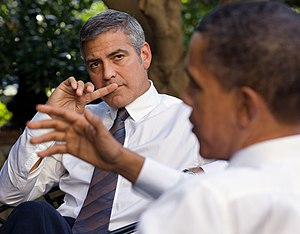George Clooney - Clooney discusses Sudan with President Barack Obama at the White House in October 2010.