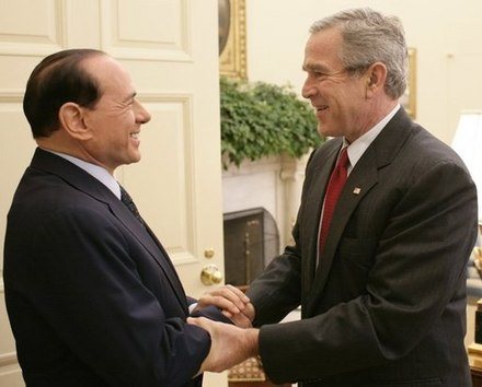 President Bush with Italian Prime Minister Silvio Berlusconi in 2005 George W. Bush welcomes Silvio Berlusconi.jpg