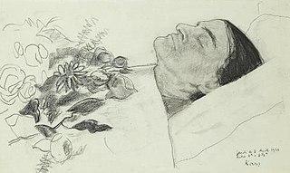 Suzanne Valadon sur son lit de mort