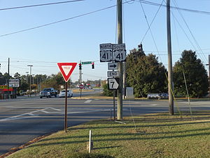 Georgia State Route 7 - Northern terminus of SR 7 Alt. at North Patterson Street and Smithbriar Drive