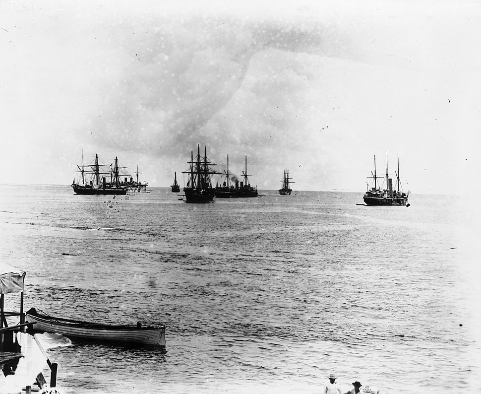 German, British, American warships in Apia harbour, Samoa 1899