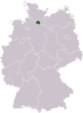 Location of Hamburg in Germany