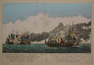 Action of 30 May 1781 - The Battle of Cape St Mary in a Dutch engraving.