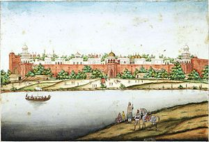 Red Fort - View of the Red Fort from the river (by Ghulam Ali Khan, between c. 1852–1854
