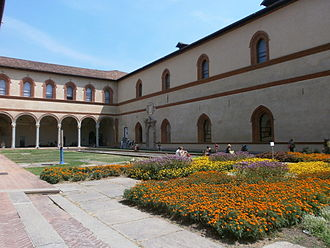 Sforza Castle Pinacoteca - An inner view of Sforza Castle.