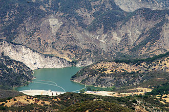 Santa Ynez River - Gibraltar Dam and Reservoir, completed in 1920 and raised in 1940, after sedimentation had severely reduced its capacity. 2009 photo by Doc Searls.