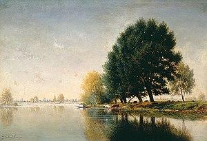 Gilbert Munger - Gilbert Munger, oil painting, Seine Near Poissy, ca. 1880-90.