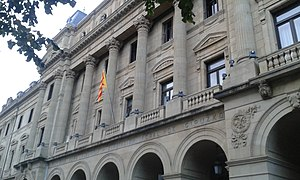 Catalan self-determination referendum, 2014 - Catalan independence flag hoisted on the Gipuzkoa Regional Govt headquarters on 9 November 2014.