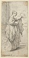 Girl carrying a cushion, seen in profile facing right MET DP837815.jpg
