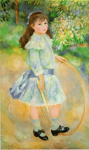 Girl With a Hoop, oil painting by Renoir