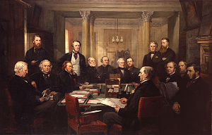 Gladstone's Cabinet of 1868, painted by Lowes Cato Dickinson. Use a cursor to see who is who. Gladstone's Cabinet of 1868 by Lowes Cato Dickinson.jpg