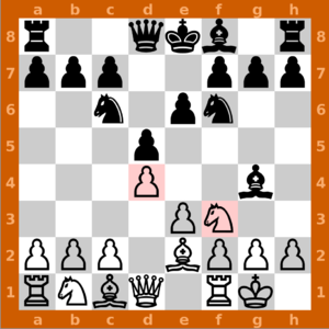 English: Screenshot of a chess match on GnuChe...