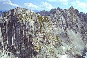 Goinger Halt - The Hinterer (left) and Vorderer Goinger Halt (right) from Christaturm in the west. The climb from the Ellmauer Tor to the Hintere Goinger Halt is easily recognisable.