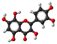 Ball-and-stick model of the gossypetin molecule