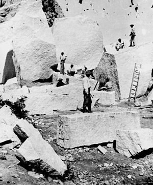 Little Cottonwood Canyon - Quarry for the Salt Lake Temple. The ground is strewn with boulders and detached masses, which have fallen from the walls of Little Cottonwood Canyon. The quarrying consists of splitting up the blocks