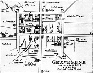 Gravesend, Brooklyn - 1873 map of Gravesend by Alvin Jewitt Johnson