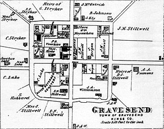 Gravesend, Brooklyn - 1873 map of Gravesend by Alvin Jewitt Johnson