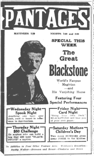 Harry Blackstone Sr. - Image of the Great Blackstone in an ad for a performance in Seattle, 1922.