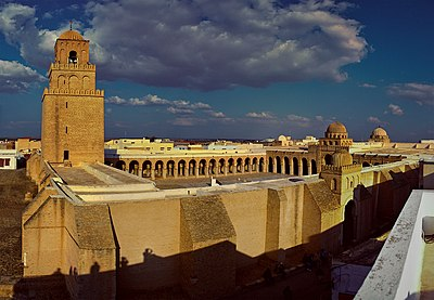 The Great Mosque of Kairouan, founded in 670, is the oldest mosque in North Africa; it is located in Kairouan, Tunisia Great Mosque of Kairouan Stitched Panorama - Grande Mosquee de Kairouan Panorama.jpg