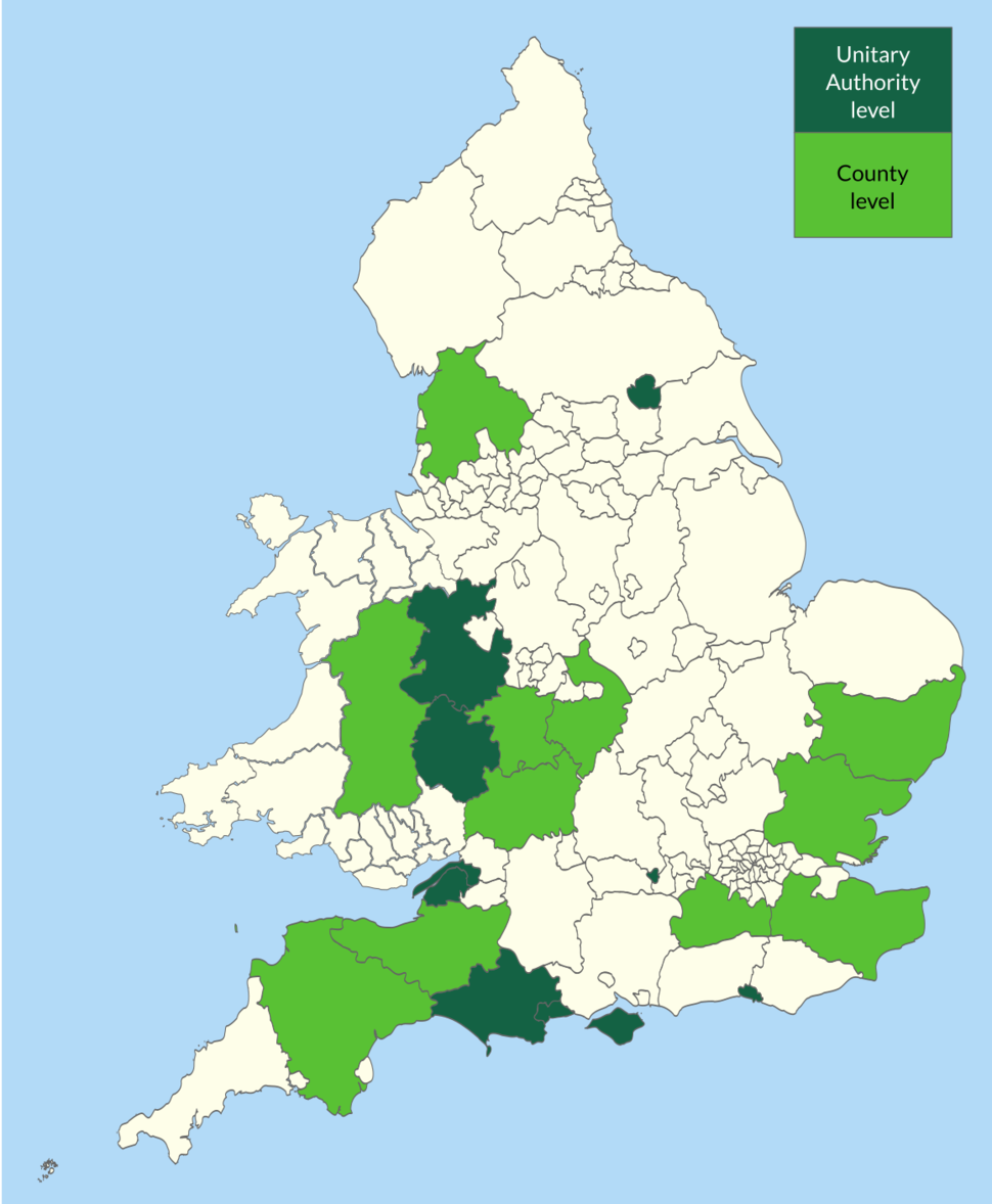 Green Representation on English and Welsh administrative divisions 2019