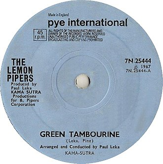 Green Tambourine - Image: Green Tambourine by The Lemon Pipers UK vinyl