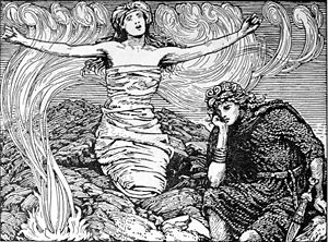 "Gróa - ""Groa's Incantation"" (1908) by W. G. Collingwood."