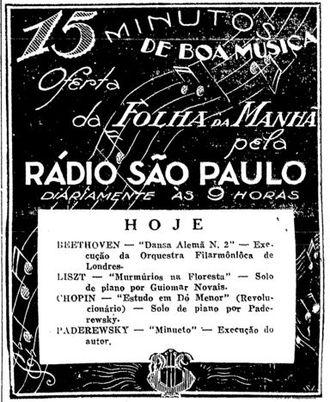 Guiomar Novaes - 1943 advertisement for a radio program featuring Guiomar Novaes